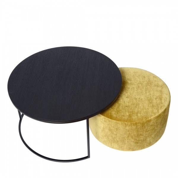 Charrell - COMBINATIE COFFEE TABLE TODD + POUF RITZ - DIA 90 - H 44 CM (image 2)