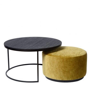 Charrell - COMBINATIE COFFEE TABLE TODD + POUF RITZ - DIA 90 - H 44 CM
