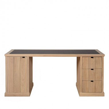 Charrell - DESK LANCASTER 180 - WITH LEATHER - 180 X 80 - H 77 CM